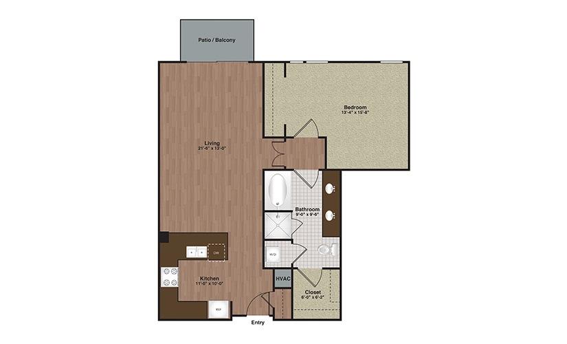 E2-A14 1 Bed 1 Bath Floorplan