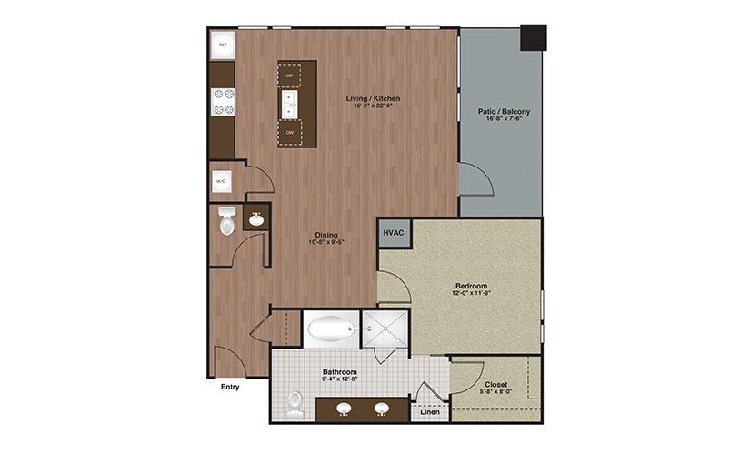 E2-A15 1 Bed 1 Bath Floorplan