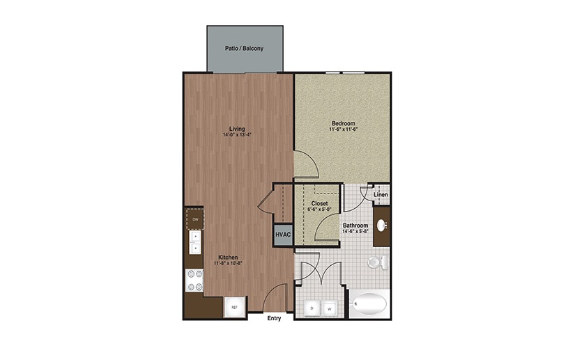 E3-A3 1 Bed 1 Bath Floorplan
