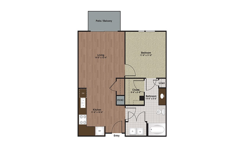 E3-A3a 1 Bed 1 Bath Floorplan