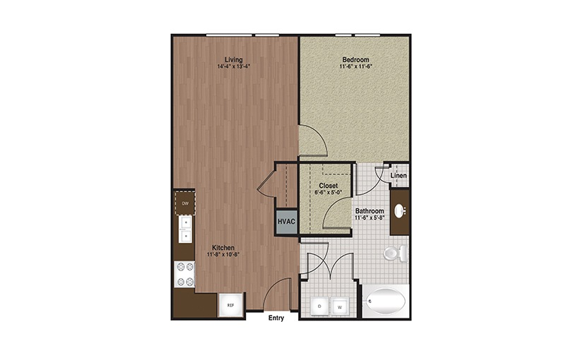 E3-A3c 1 Bed 1 Bath Floorplan