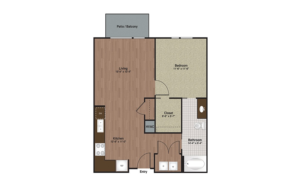 E3-A3TA 1 Bed 1 Bath Floorplan