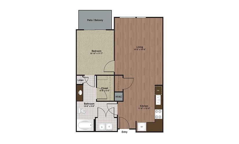 E3-A4 1 Bed 1 Bath Floorplan