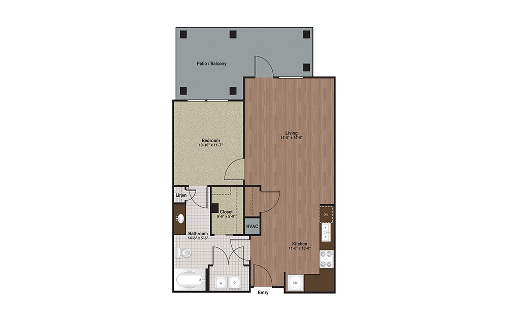 E3-A4a 1 Bed 1 Bath Floorplan