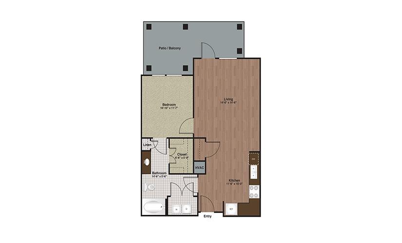 E3-A4b 1 Bed 1 Bath Floorplan