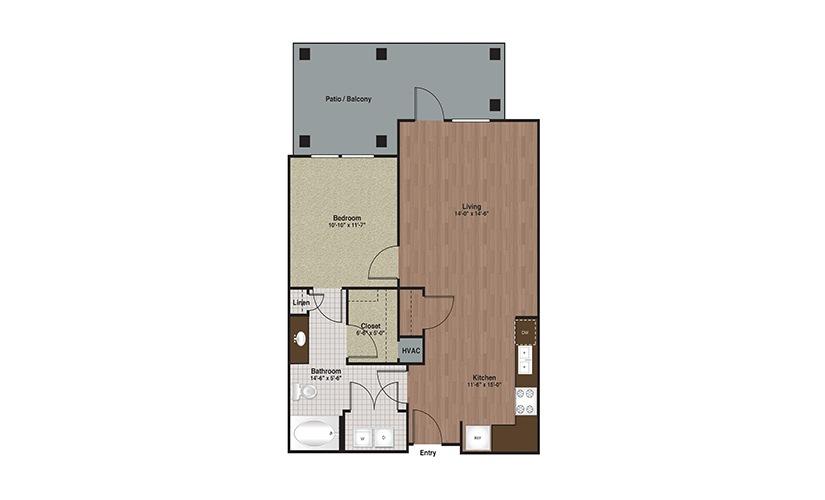 E3-A4c 1 Bed 1 Bath Floorplan