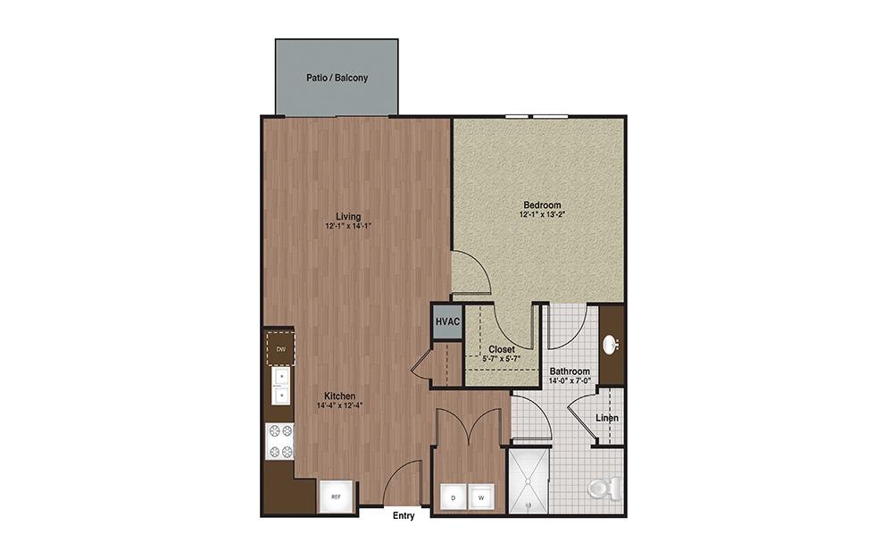 E3-A5 1 Bed 1 Bath Floorplan