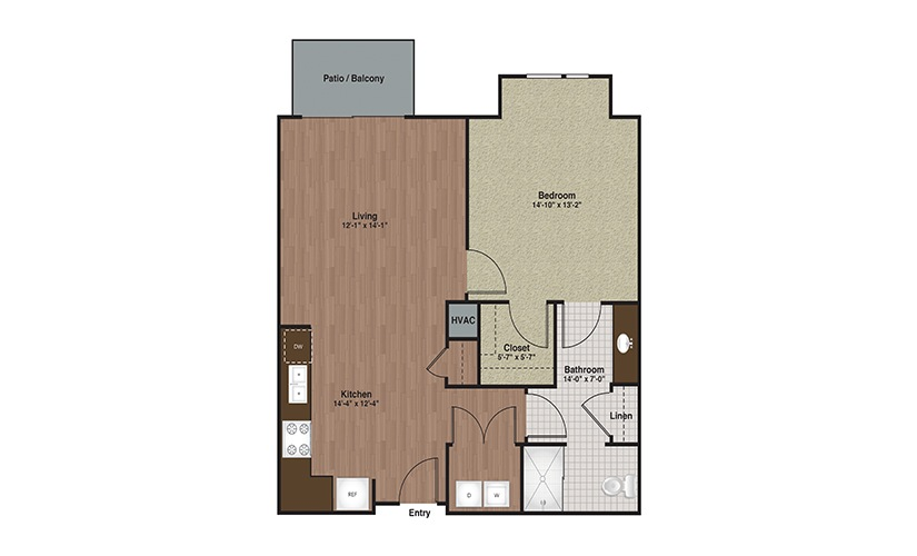 E3-A5a 1 Bed 1 Bath Floorplan