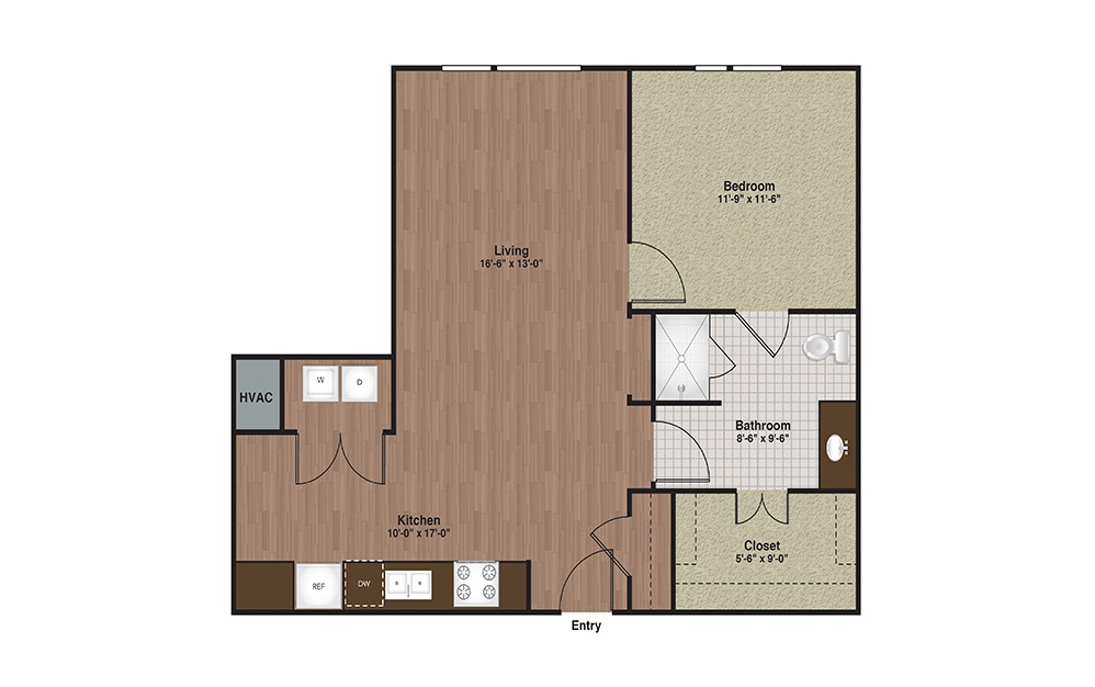 E3-A6 1 Bed 1 Bath Floorplan