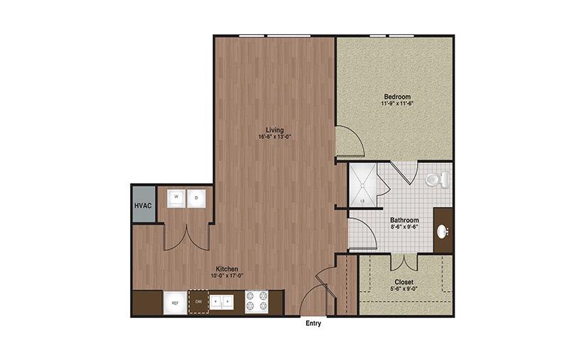E3-A6 1 Bed 1 Bath Floorplan