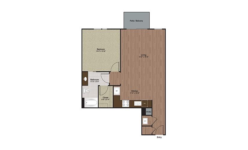 E3-A7 1 Bed 1 Bath Floorplan