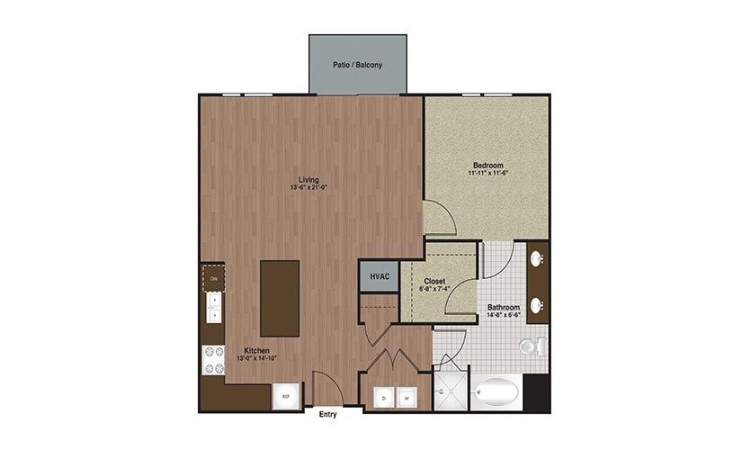 E3-A8 1 Bed 1 Bath Floorplan