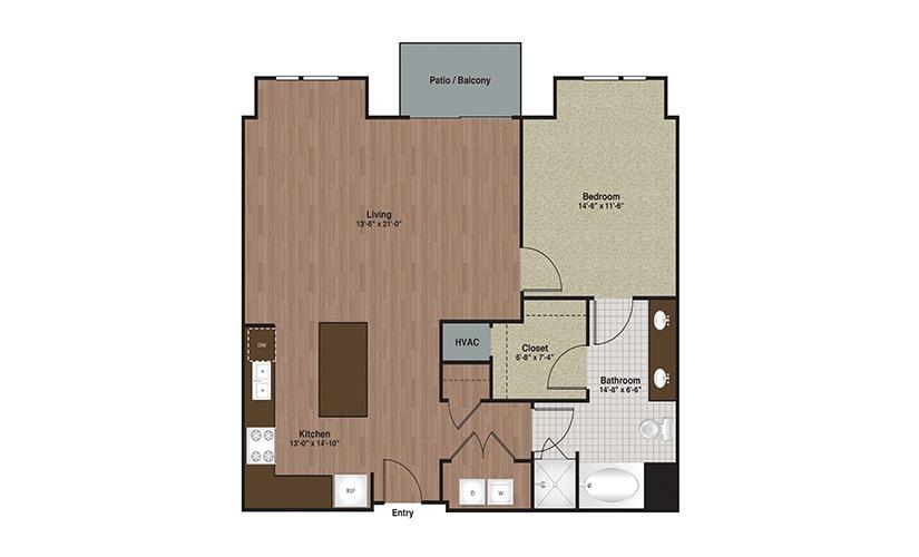 E3-A8a 1 Bed 1 Bath Floorplan