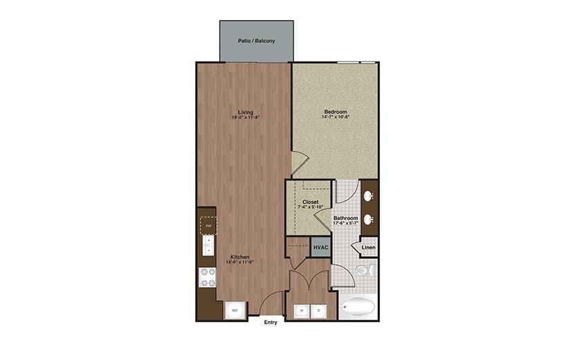 E2-A9 1 Bed 1 Bath Floorplan