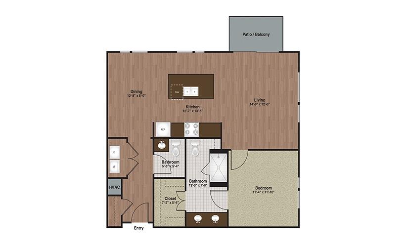 E3-A9 1 Bed 1 Bath Floorplan