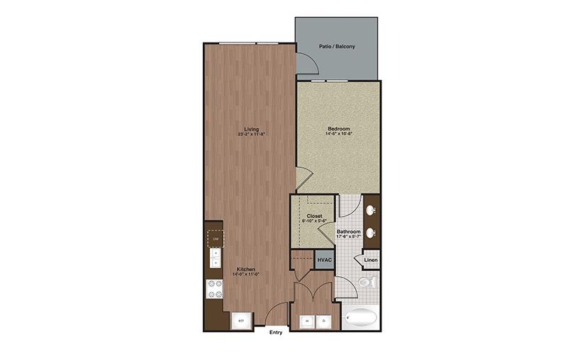 E2-A9a 1 Bed 1 Bath Floorplan
