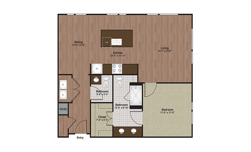 E3-A9a 1 Bed 1 Bath Floorplan