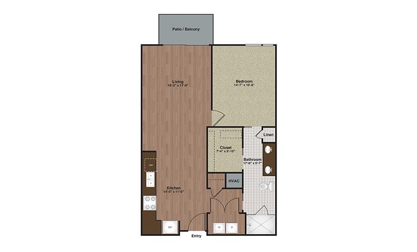 E2-A9TA 1 Bed 1 Bath Floorplan