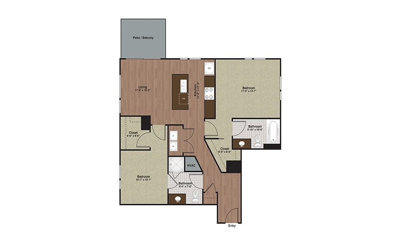 E3-B1 2 Bed 2 Bath Floorplan