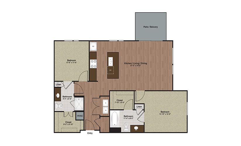 E3-B2 2 Bed 2 Bath Floorplan