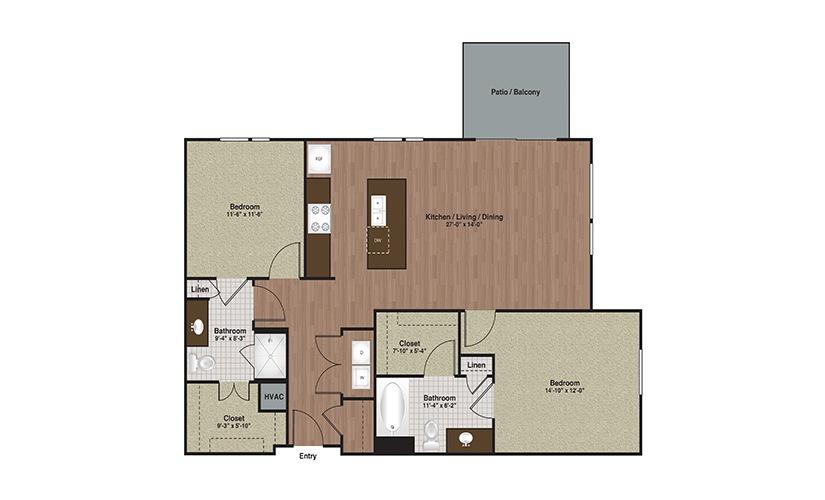 E3-B2 2 Bed 2 Bath Floorplan