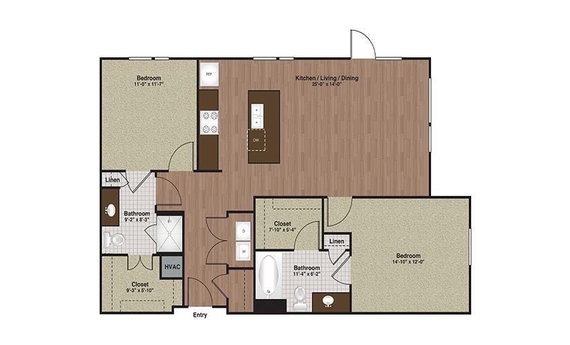 E3-B2a 2 Bed 2 Bath Floorplan