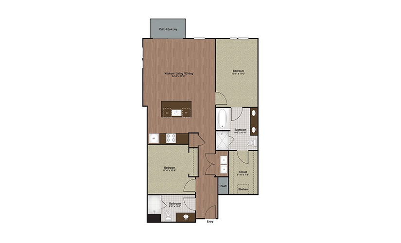 E3-B3 2 Bed 2 Bath Floorplan