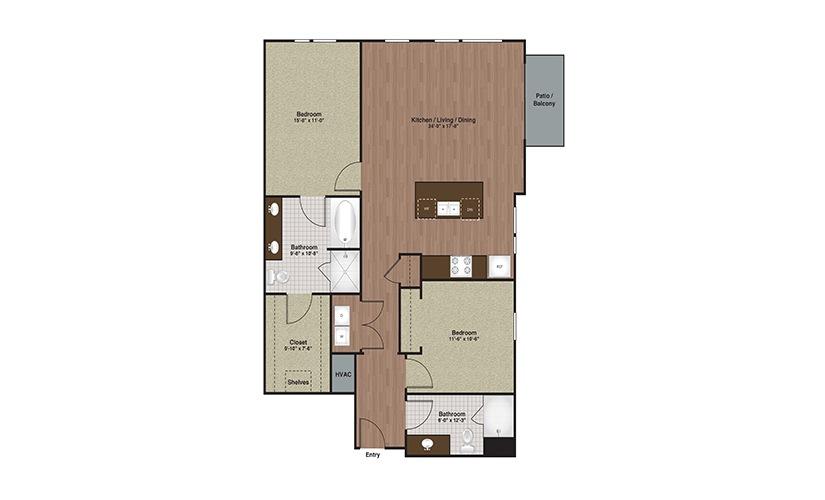 E3-B3a 2 Bed 2 Bath Floorplan