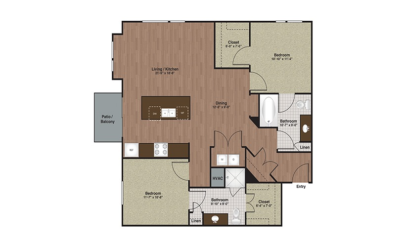 E3-B4 2 Bed 2 Bath Floorplan