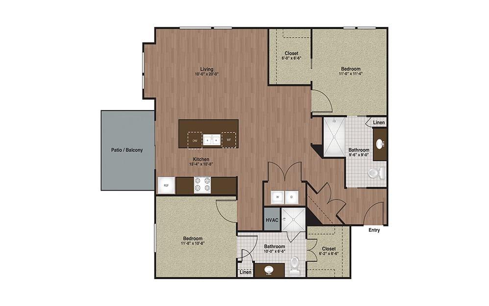 E3-B4TA 2 Bed 2 Bath Floorplan