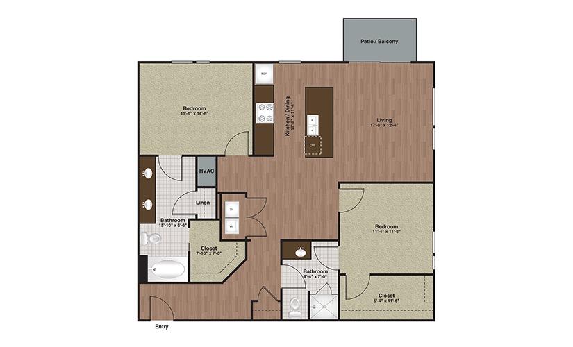 E2-B4TA 2 Bed 2 Bath Floorplan