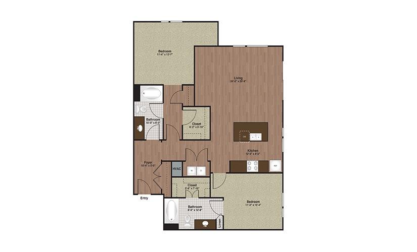 E3-B5 2 Bed 2 Bath Floorplan