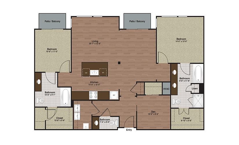 E3-B6 2 Bed 2 Bath Floorplan