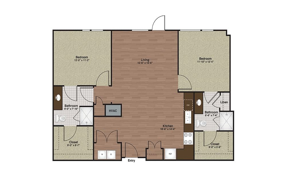 E3-B7 2 Bed 2 Bath Floorplan