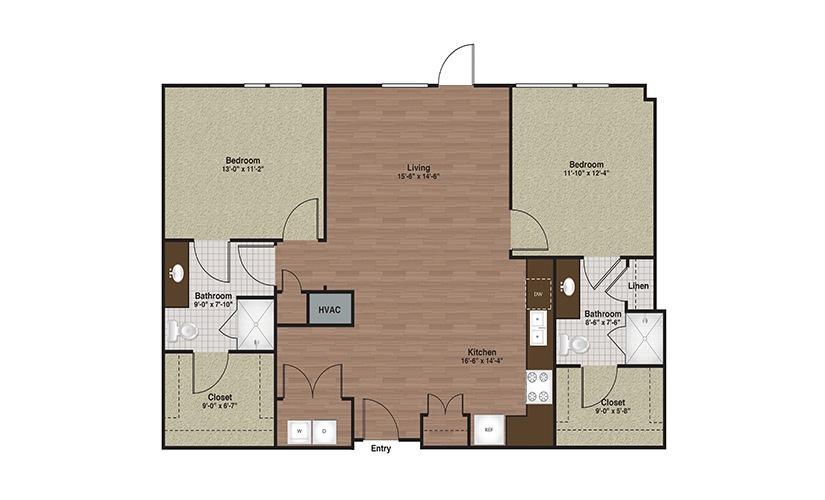 E3-B7 2 Bed 2 Bath Floorplan