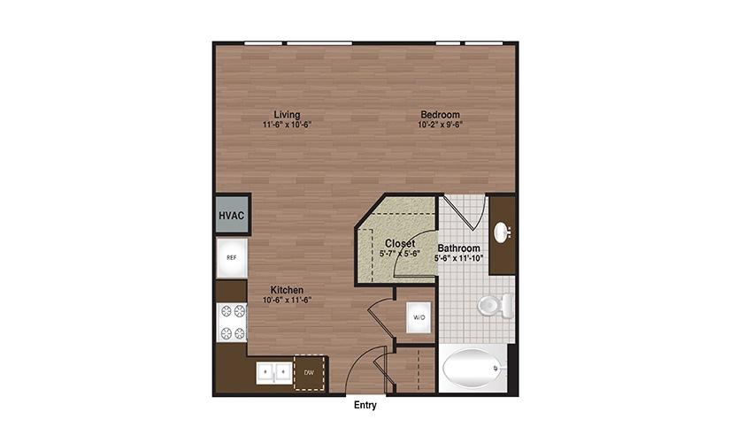 E3-S1 Studio 1 Bath Floorplan