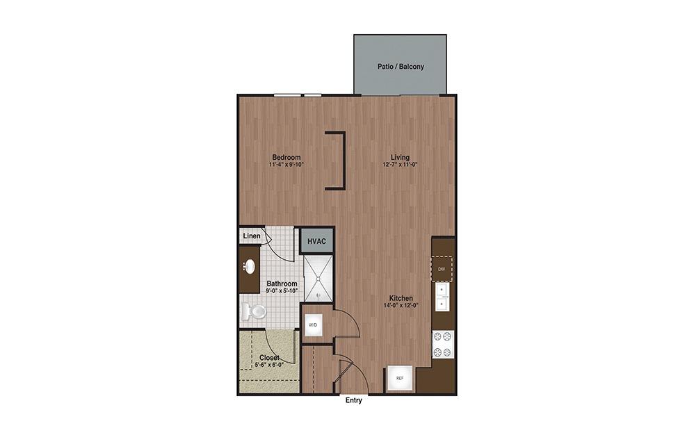 E3-S2 Studio 1 Bath Floorplan
