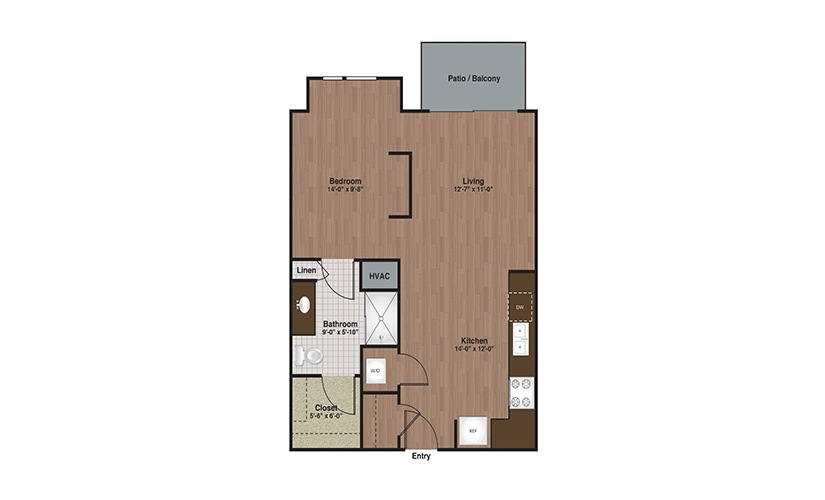 E3-S2a Studio 1 Bath Floorplan